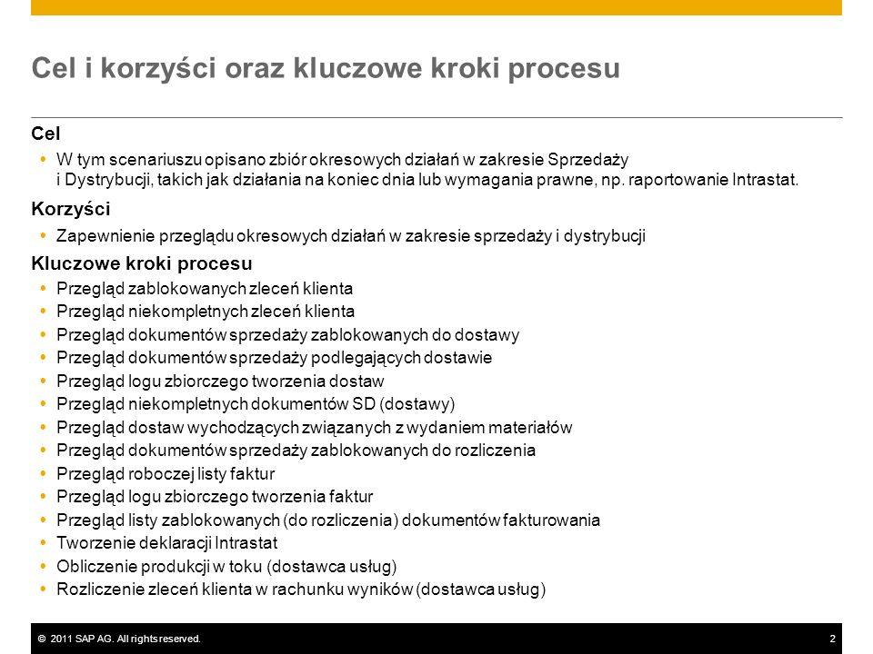 ©2011 SAP AG. All rights reserved.2 Cel i korzyści oraz kluczowe kroki procesu Cel W tym scenariuszu opisano zbiór okresowych działań w zakresie Sprze