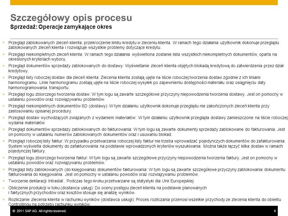 ©2011 SAP AG. All rights reserved.4 Szczegółowy opis procesu Sprzedaż: Operacje zamykające okres Przegląd zablokowanych zleceń klienta: przekroczenie