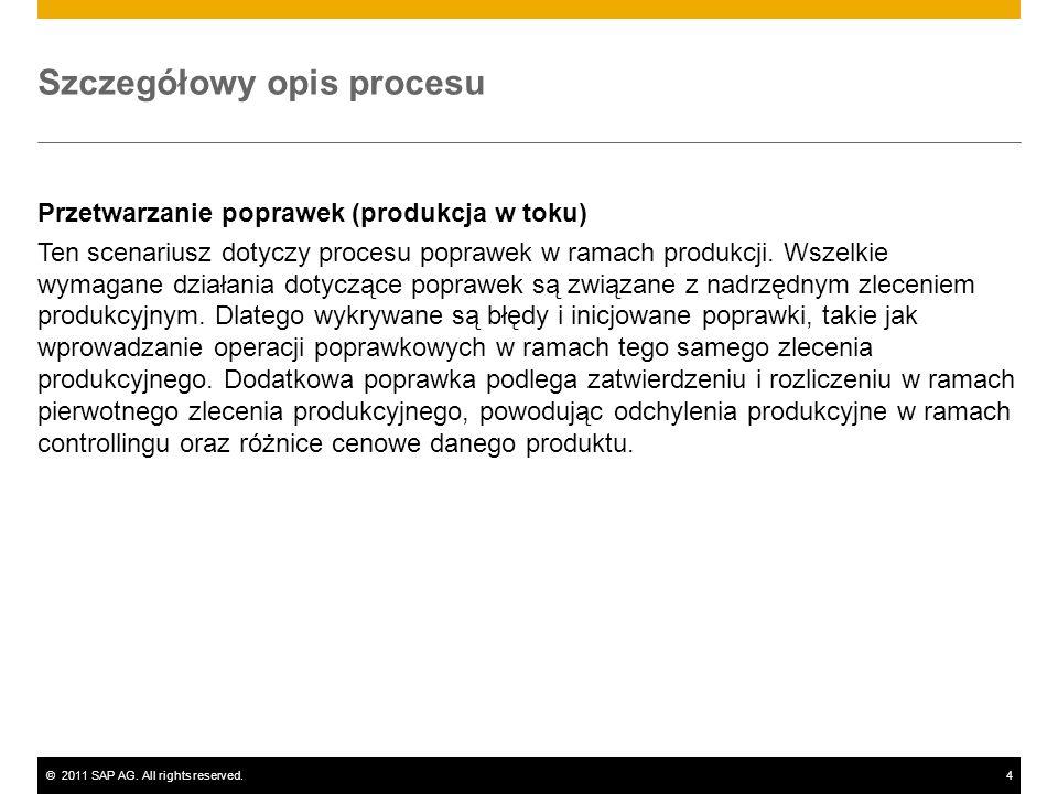 ©2011 SAP AG. All rights reserved.4 Szczegółowy opis procesu Przetwarzanie poprawek (produkcja w toku) Ten scenariusz dotyczy procesu poprawek w ramac