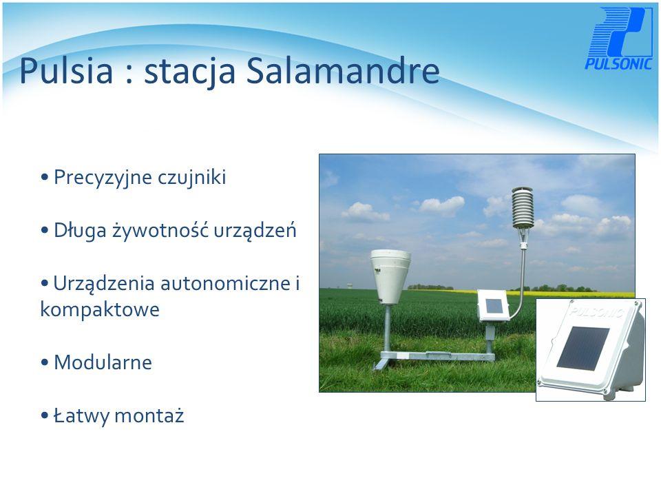 Pulsia : stacja Salamandre Precyzyjne czujniki Długa żywotność urządzeń Urządzenia autonomiczne i kompaktowe Modularne Łatwy montaż
