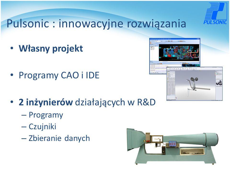 Pulsonic : innowacyjne rozwiązania Własny projekt Programy CAO i IDE 2 inżynierów działających w R&D – Programy – Czujniki – Zbieranie danych