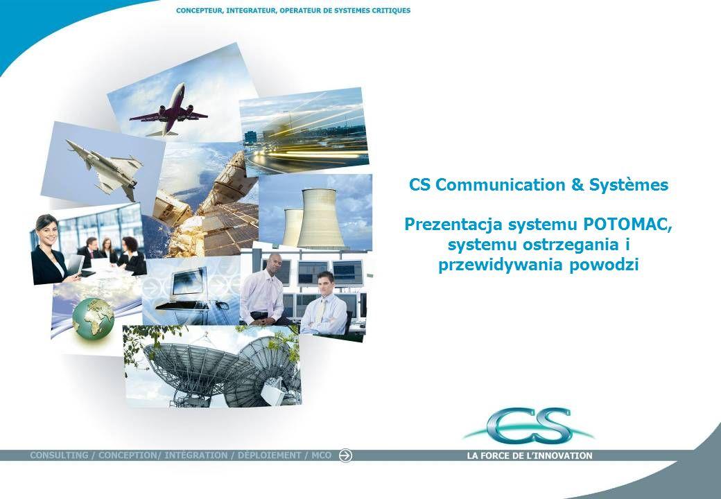 Présentation CS POTOMAC - Octobre 2011 2 CS, projektant, integrator & operator systemów krytycznych Twórca gotowych innowacyjnych i wydajnych systemów Interwencja całościowa: konsultacja, projektowanie, instalacja, uruchomienie Ekspertyza i innowacja: 9% obrotu 193 M obrotu 2100 współpracowników na świecie Société Tunisie Autoroutes – CGSS - GIE Cartes Bancaires - Honfran Strefy geograficzneSektory działania 48,93 % Ruchomy Grupa SAVA i Cie 47,61 % Podział kapitału (marzec 2010) Samokontrola : 3,46 % Ameryka Północna I Południowa 8% Afryka i Środkowy Wschód 5% Europa 14% Francja 73% % obrotu Transport 16% Aeronautyka, energia i przemysł35% Produkty 4% Obrona, przestrzeń kosmiczna i bezpieczeństwo 45% % CA