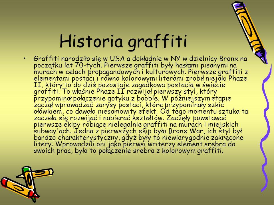 Historia graffiti Graffiti narodziło się w USA a dokładnie w NY w dzielnicy Bronx na początku lat 70-tych. Pierwsze graffiti były hasłami pisanymi na