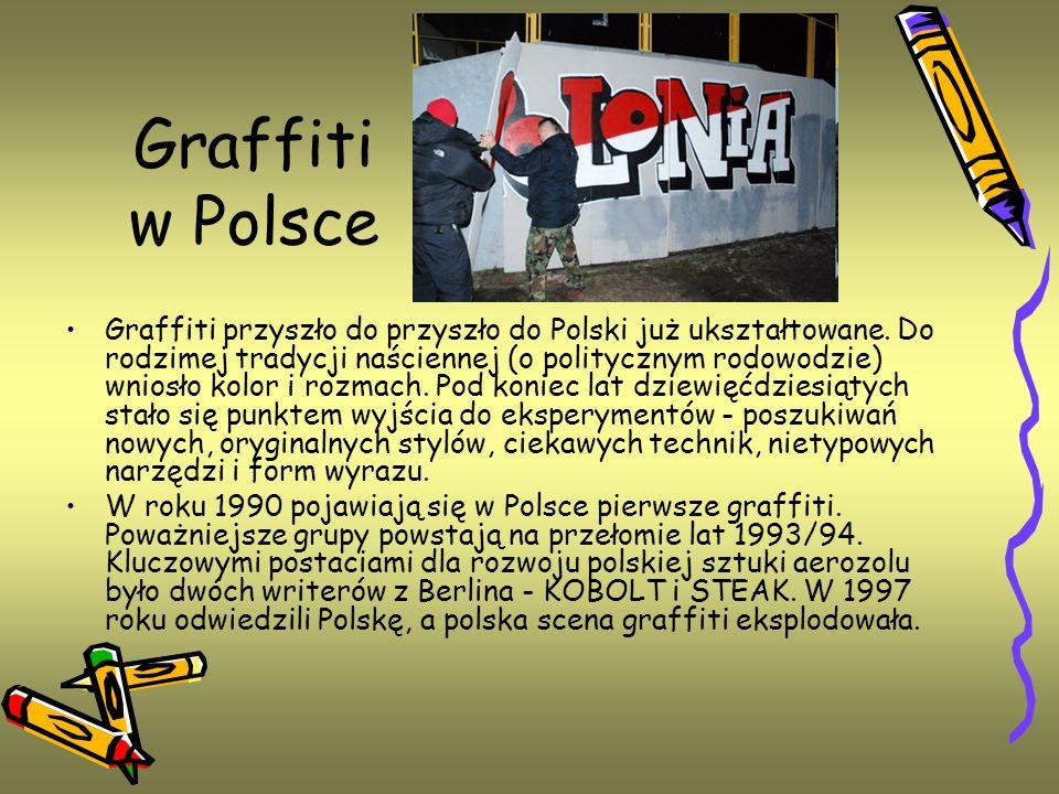 Graffiti w Polsce Graffiti przyszło do przyszło do Polski już ukształtowane. Do rodzimej tradycji naściennej (o politycznym rodowodzie) wniosło kolor