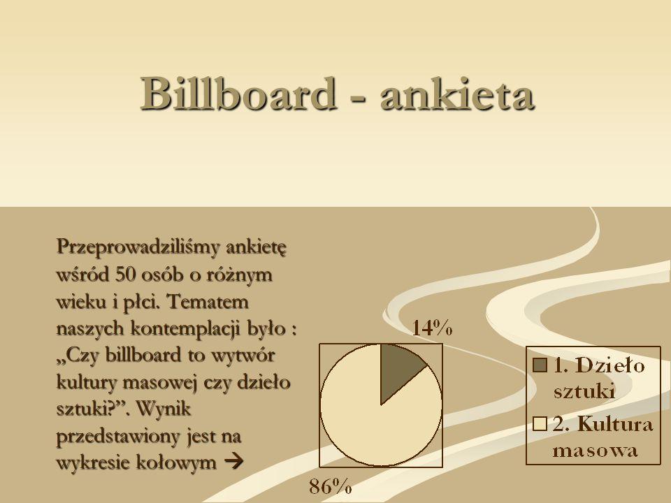 Billboard - ankieta Przeprowadziliśmy ankietę wśród 50 osób o różnym wieku i płci. Tematem naszych kontemplacji było : Czy billboard to wytwór kultury