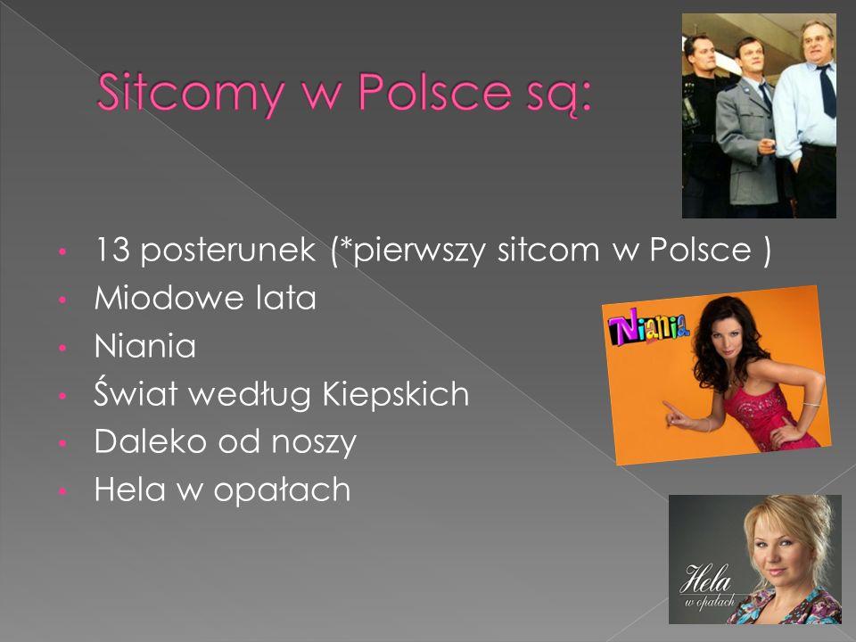 13 posterunek (*pierwszy sitcom w Polsce ) Miodowe lata Niania Świat według Kiepskich Daleko od noszy Hela w opałach