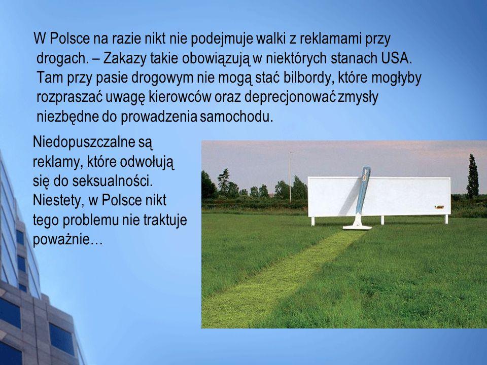 W Polsce na razie nikt nie podejmuje walki z reklamami przy drogach. – Zakazy takie obowiązują w niektórych stanach USA. Tam przy pasie drogowym nie m