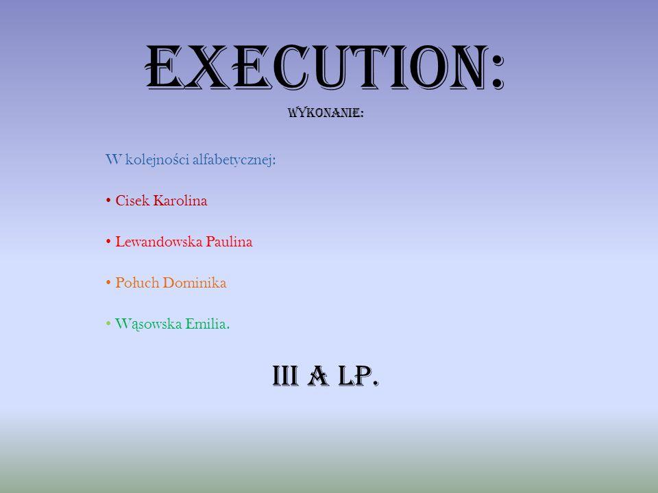 Execution: wykonANIE: W kolejno ś ci alfabetycznej: Cisek Karolina Lewandowska Paulina Po ł uch Dominika W ą sowska Emilia. III a LP.