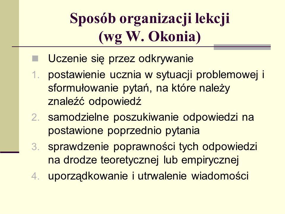 Sposób organizacji lekcji (wg W.Okonia) Uczenie się przez odkrywanie 1.