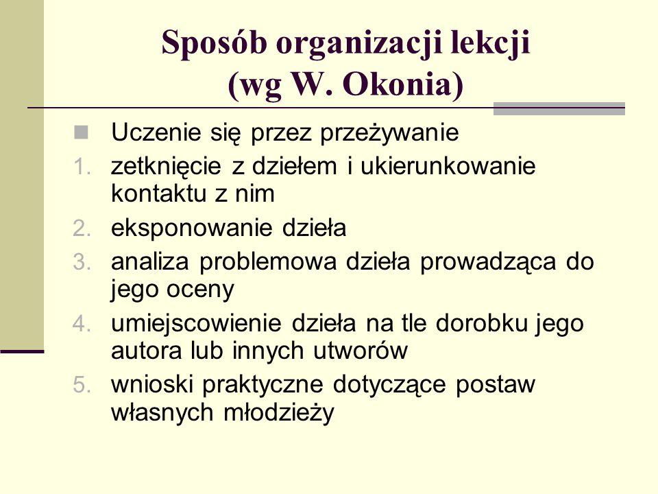 Sposób organizacji lekcji (wg W. Okonia) Uczenie się przez przeżywanie 1. zetknięcie z dziełem i ukierunkowanie kontaktu z nim 2. eksponowanie dzieła