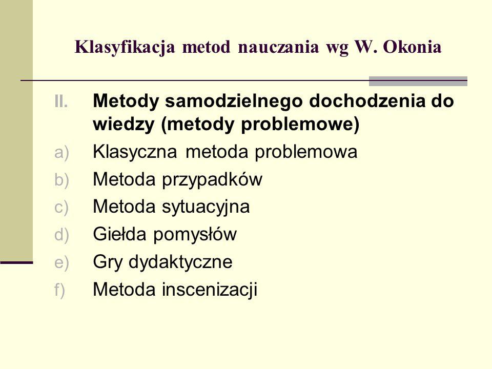 Klasyfikacja metod nauczania wg W. Okonia II. Metody samodzielnego dochodzenia do wiedzy (metody problemowe) a) Klasyczna metoda problemowa b) Metoda