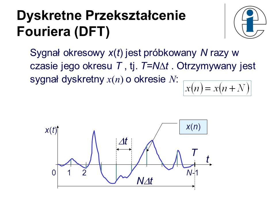 Dyskretne Przekształcenie Fouriera (DFT) Sygnał okresowy x(t) jest próbkowany N razy w czasie jego okresu T, tj. T=N t. Otrzymywany jest sygnał dyskre