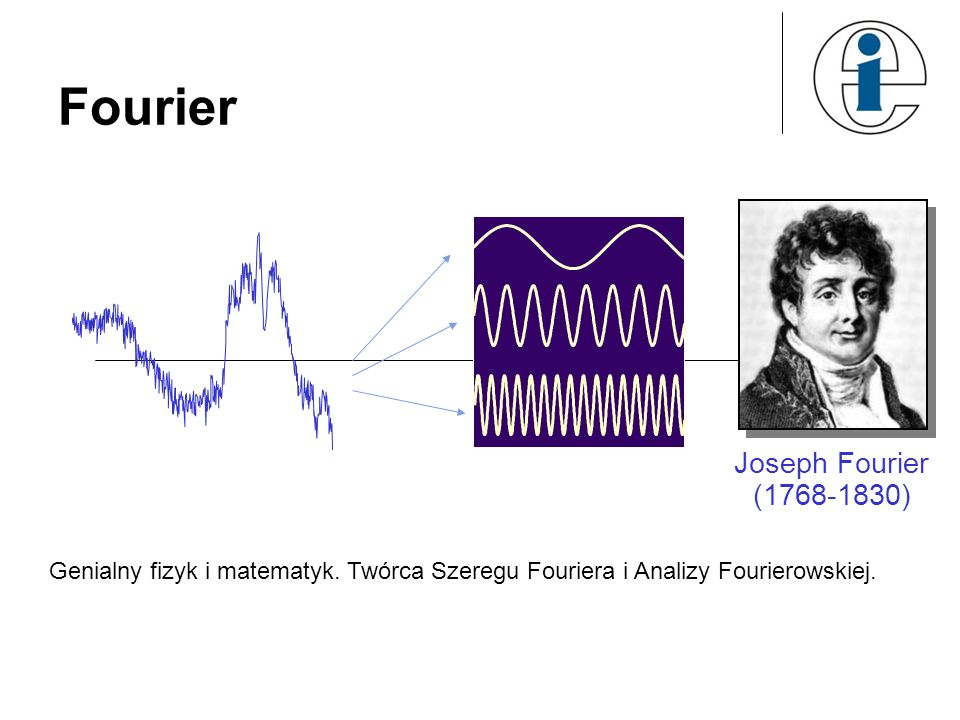 Fourier Joseph Fourier (1768-1830) Genialny fizyk i matematyk. Twórca Szeregu Fouriera i Analizy Fourierowskiej.