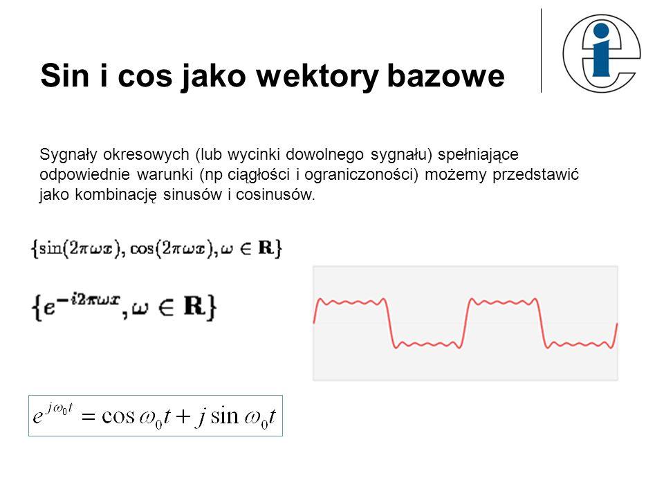 Sin i cos jako wektory bazowe Sygnały okresowych (lub wycinki dowolnego sygnału) spełniające odpowiednie warunki (np ciągłości i ograniczoności) możem