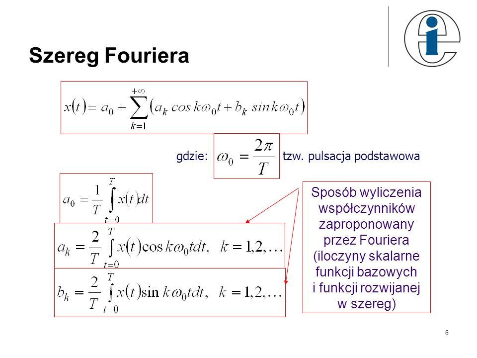Szereg Fouriera 6 gdzie: tzw. pulsacja podstawowa Sposób wyliczenia współczynników zaproponowany przez Fouriera (iloczyny skalarne funkcji bazowych i