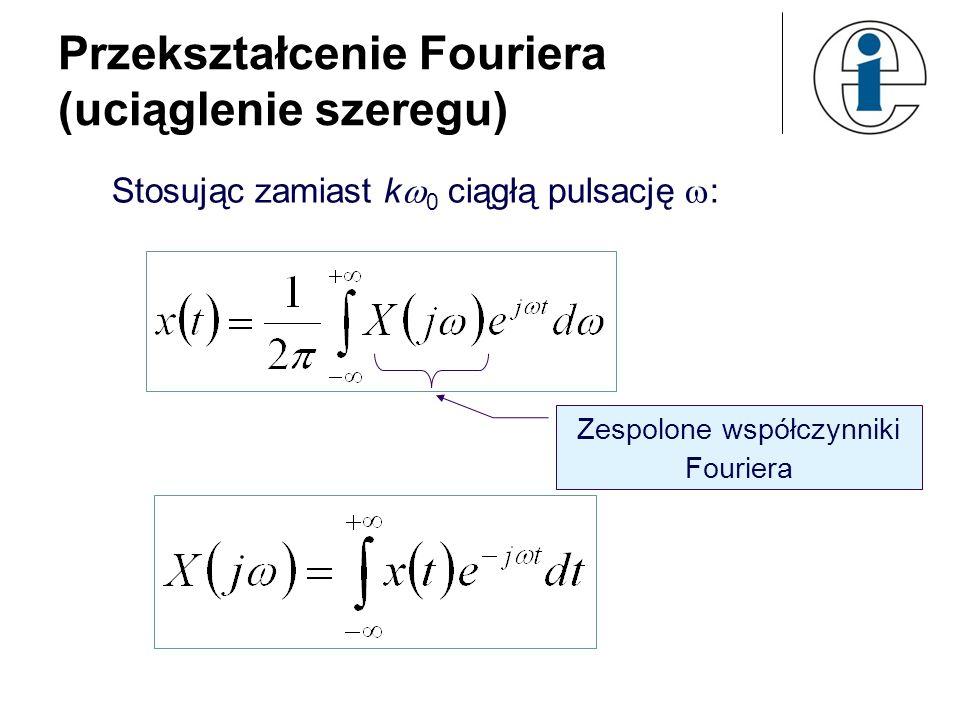 Przekształcenie Fouriera (uciąglenie szeregu) Stosując zamiast k 0 ciągłą pulsację : Zespolone współczynniki Fouriera
