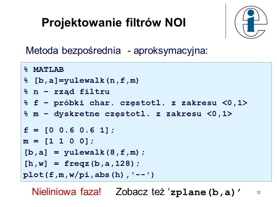 12 Projektowanie filtrów NOI Metoda bezpośrednia - aproksymacyjna: % MATLAB % [b,a]=yulewalk(n,f,m) % n – rząd filtru % f – próbki char. częstotl. z z