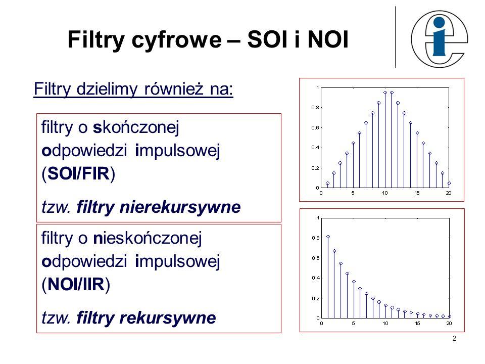 13 Projektowanie filtrów NOI Metoda niezmienności odpowiedzi impulsowej: % MATLAB %dolnoprzepustowy Butterwotha [b,a]=butter(5,0.4) %pasmowoprzepustowy Czebyszewa typu I [b,a]=cheby1(4,1,[.4.7]) %górnoprzepustowy Czebyszewa typu II [b,a]=cheby2(6,60,.8,high) %pasmowozaporowy eliptyczny [b,a] = ellip(3,1,60,[.4.7],stop); Wyznacz odpowiedzi impulsowe tych filtrów