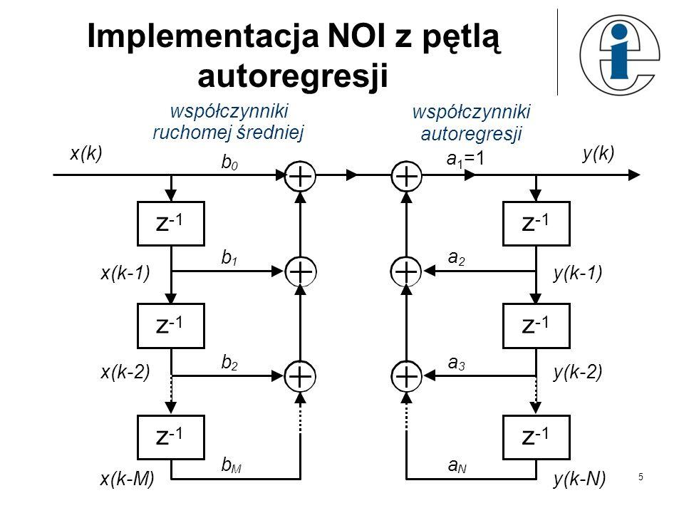 5 Implementacja NOI z pętlą autoregresji z z z b 0 x(k-1) x(k) x(k-M) x(k-2) b 1 b M b 2 y(k) współczynniki ruchomej średniej współczynniki autoregres