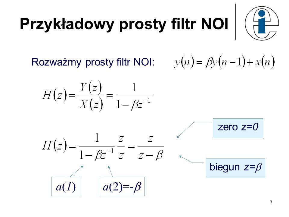 9 Przykładowy prosty filtr NOI Rozważmy prosty filtr NOI: zero z=0 biegun z= a(1)a(1)a(2)=-