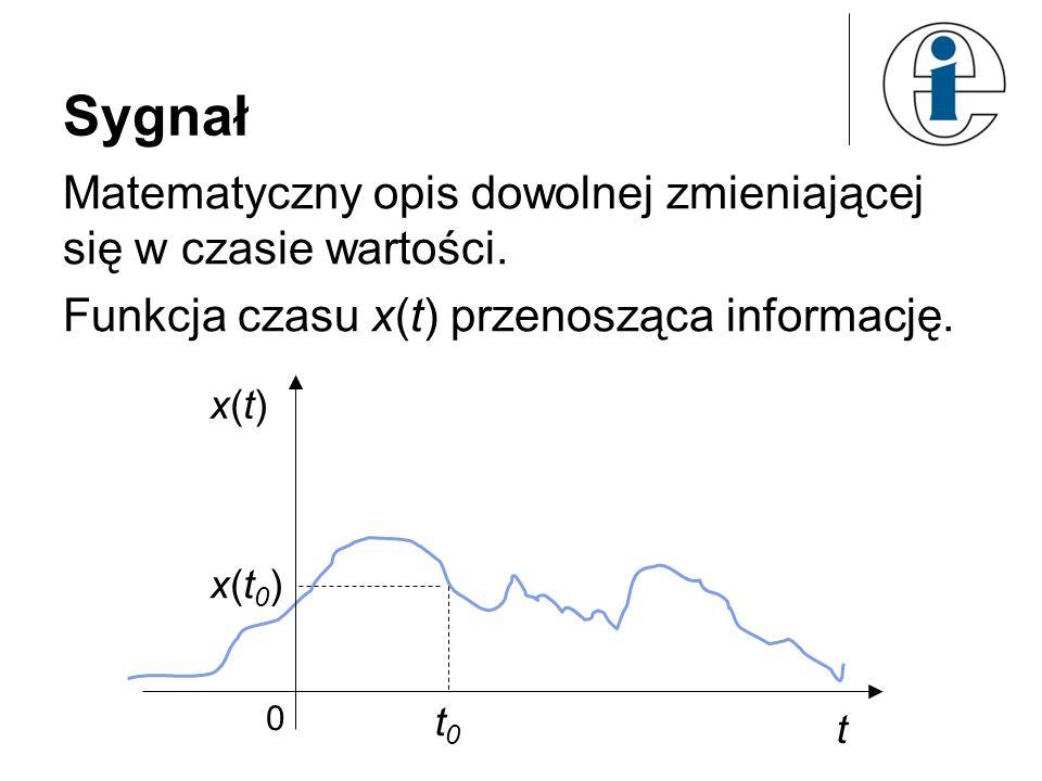 Sygnał Matematyczny opis dowolnej zmieniającej się w czasie wartości. Funkcja czasu x(t) przenosząca informację. x(t)x(t) t t0t0 x(t0)x(t0) 0