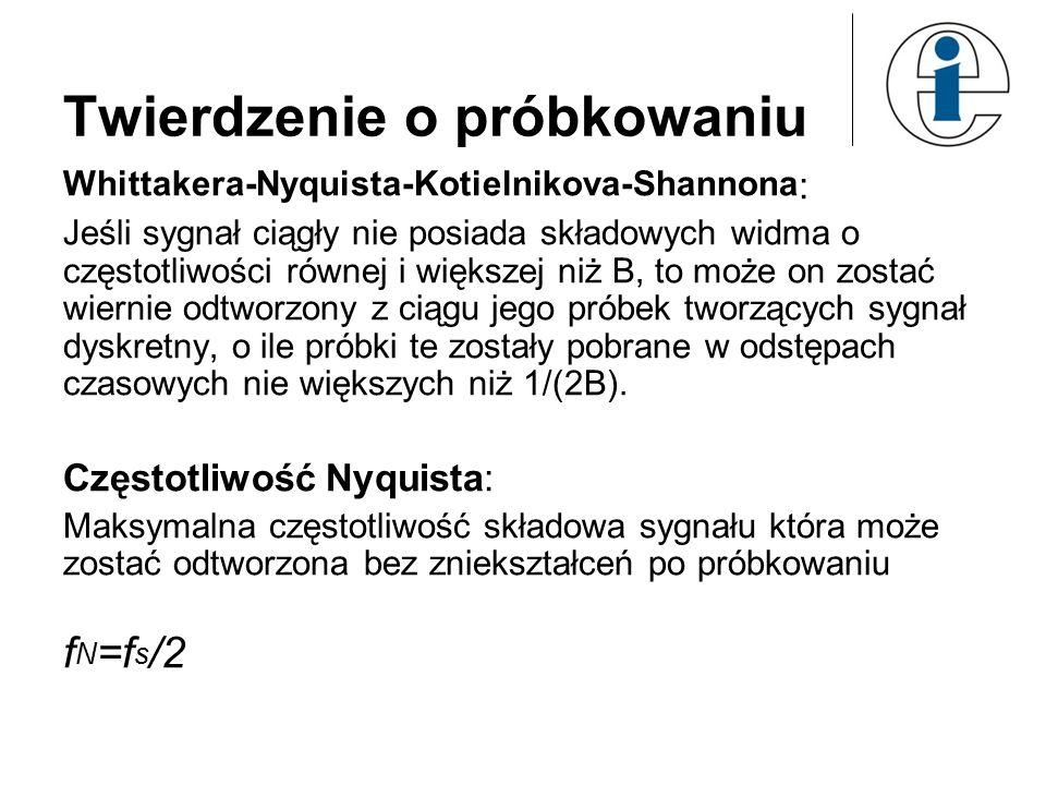 Twierdzenie o próbkowaniu Whittakera-Nyquista-Kotielnikova-Shannona : Jeśli sygnał ciągły nie posiada składowych widma o częstotliwości równej i więks
