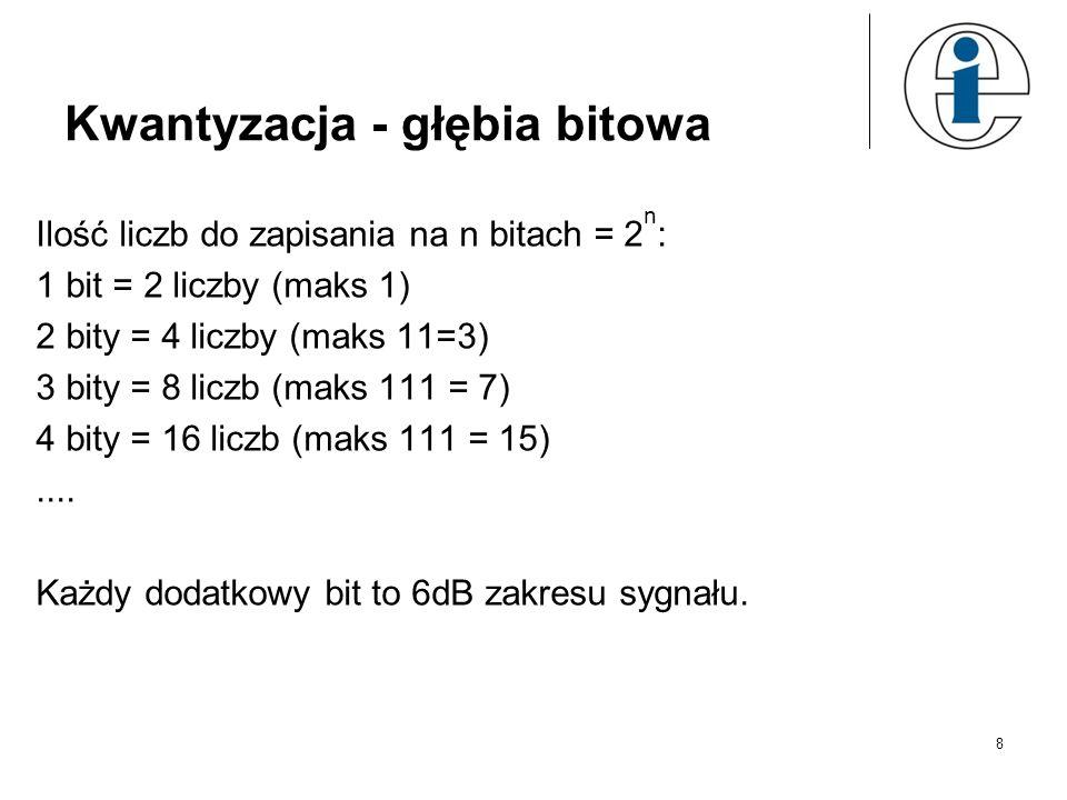 Kwantyzacja - głębia bitowa Ilość liczb do zapisania na n bitach = 2 n : 1 bit = 2 liczby (maks 1) 2 bity = 4 liczby (maks 11=3) 3 bity = 8 liczb (mak