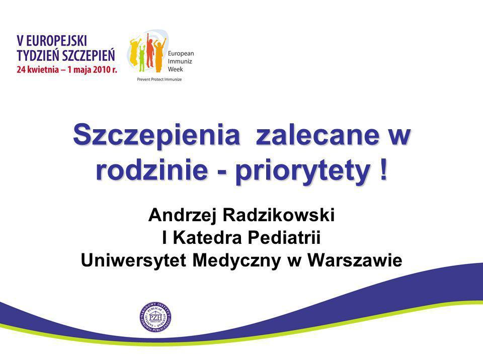 Szczepienia zalecane w rodzinie - priorytety ! Andrzej Radzikowski I Katedra Pediatrii Uniwersytet Medyczny w Warszawie