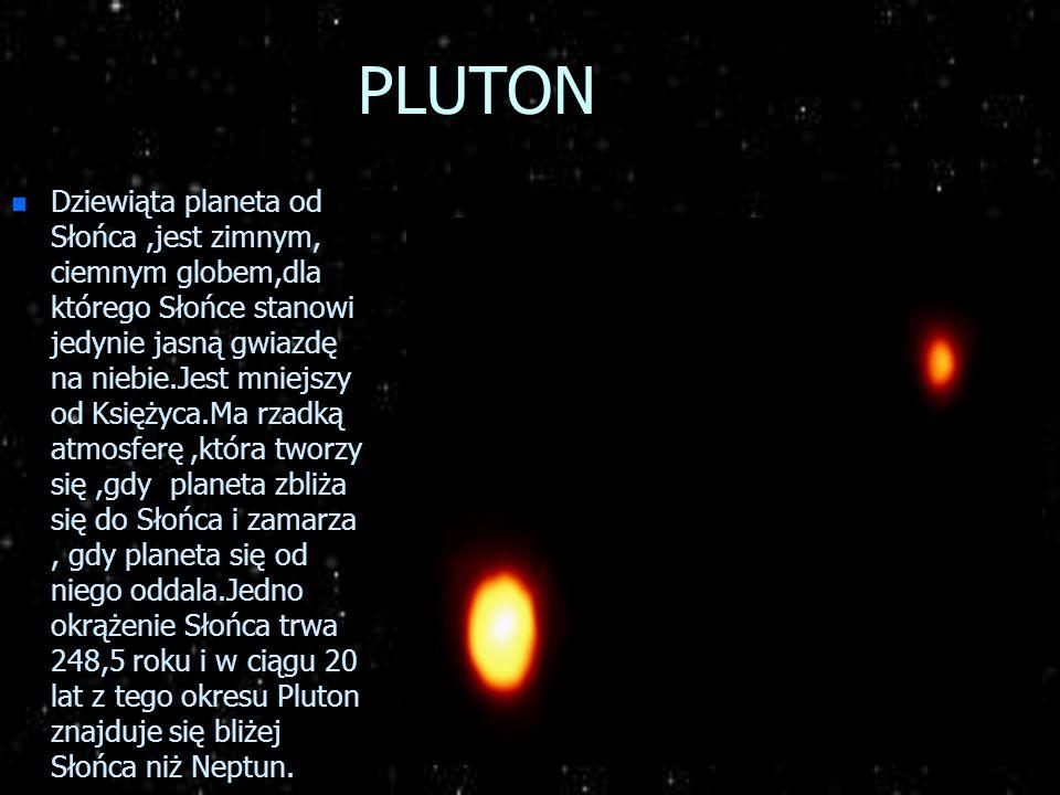 NEPTUN n Jest ósmą planetą od Słońca,czwartą z gazowych planet olbrzymów.Wielkością i budową przypomina swego sąsiada Urana. Masa Neptuna jest 17,25 r