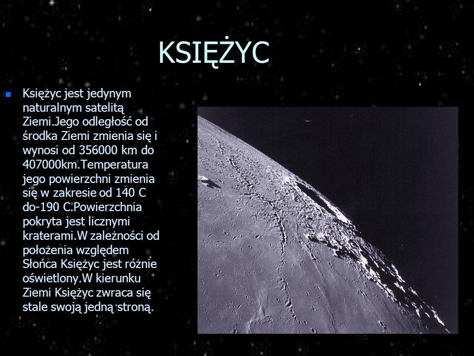 PLUTON n Dziewiąta planeta od Słońca,jest zimnym, ciemnym globem,dla którego Słońce stanowi jedynie jasną gwiazdę na niebie.Jest mniejszy od Księżyca.