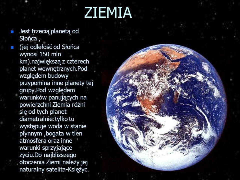 WENUS n Druga planeta od Słońca,jest otulonym gęstymi chmurami skalnym globem.Chmury odbijają większość światła słonecznego, przez co Wenus jest najja