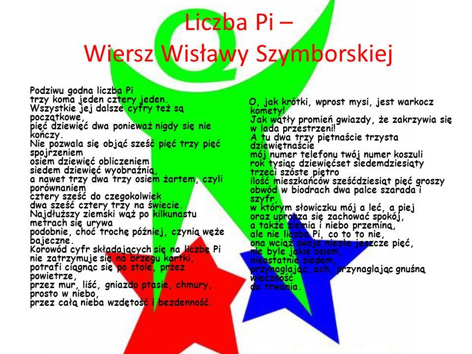 Liczba Pi – Wiersz Wisławy Szymborskiej Podziwu godna liczba Pi trzy koma jeden cztery jeden. Wszystkie jej dalsze cyfry też są początkowe, pięć dziew