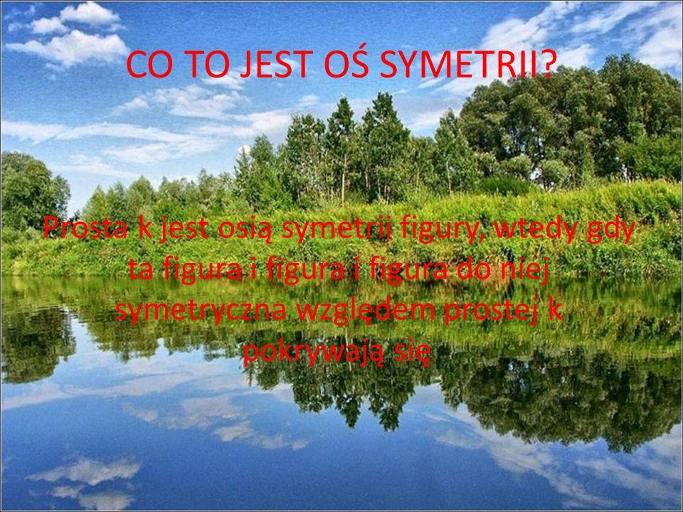 CO TO JEST OŚ SYMETRII? Prosta k jest osią symetrii figury, wtedy gdy ta figura i figura i figura do niej symetryczna względem prostej k pokrywają się