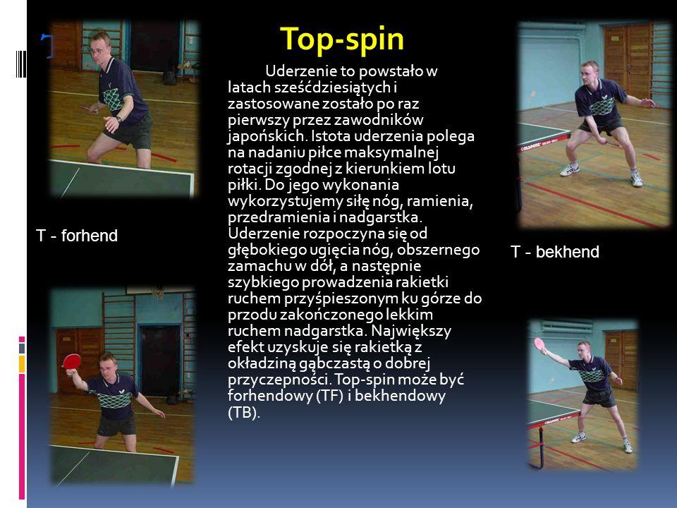 Top - spin T - forhend T - bekhend Top-spin Uderzenie to powstało w latach sześćdziesiątych i zastosowane zostało po raz pierwszy przez zawodników jap