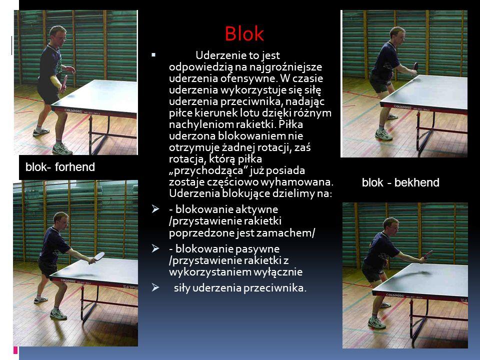 Blok blok - bekhend blok- forhend Blok Uderzenie to jest odpowiedzią na najgroźniejsze uderzenia ofensywne. W czasie uderzenia wykorzystuje się siłę u