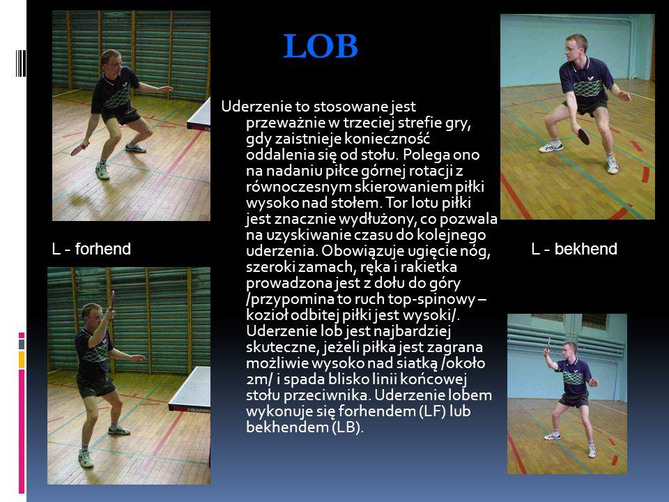 LOB L - bekhendL - forhend Uderzenie to stosowane jest przeważnie w trzeciej strefie gry, gdy zaistnieje konieczność oddalenia się od stołu. Polega on