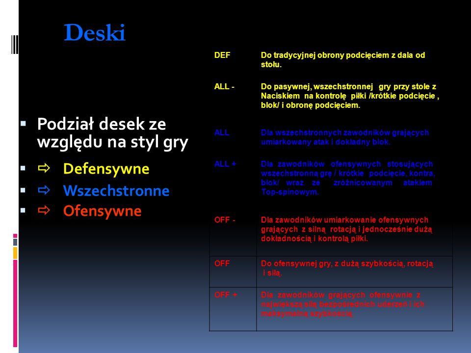 Deski DEFDo tradycyjnej obrony podcięciem z dala od stołu. ALL -Do pasywnej, wszechstronnej gry przy stole z Naciskiem na kontrolę piłki /krótkie podc