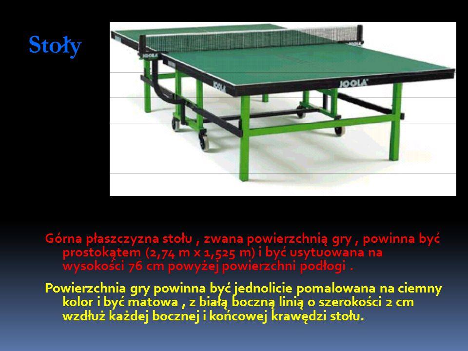 Stoły Górna płaszczyzna stołu, zwana powierzchnią gry, powinna być prostokątem (2,74 m x 1,525 m) i być usytuowana na wysokości 76 cm powyżej powierzc