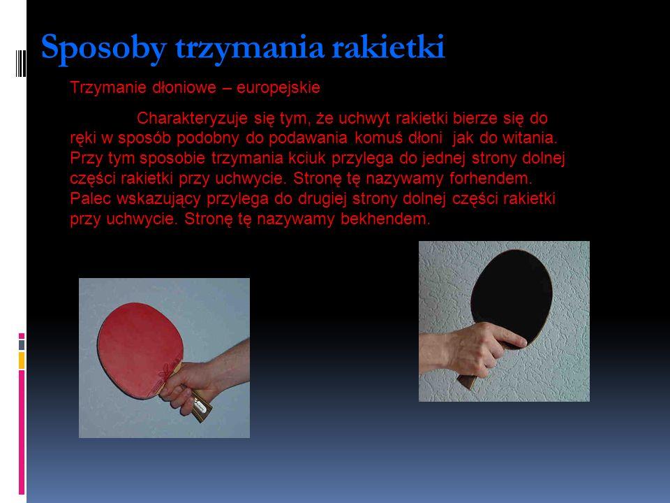 Sposoby trzymania rakietki Trzymanie dłoniowe – europejskie Charakteryzuje się tym, że uchwyt rakietki bierze się do ręki w sposób podobny do podawani