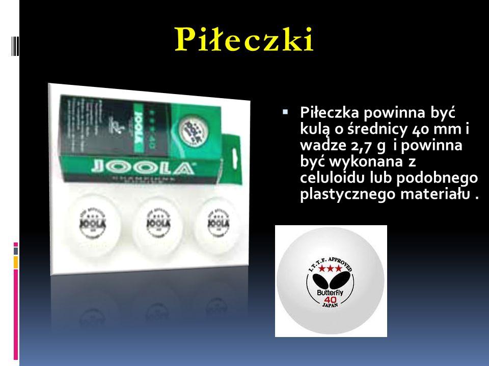 Piłeczki Piłeczka powinna być kulą o średnicy 40 mm i wadze 2,7 g i powinna być wykonana z celuloidu lub podobnego plastycznego materiału.
