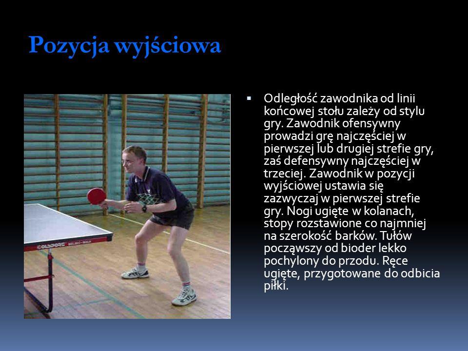 Pozycja wyjściowa Odległość zawodnika od linii końcowej stołu zależy od stylu gry. Zawodnik ofensywny prowadzi grę najczęściej w pierwszej lub drugiej