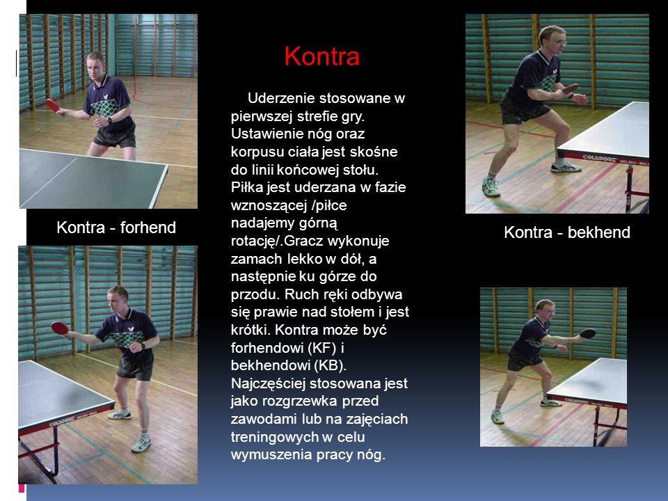Kontra Uderzenie stosowane w pierwszej strefie gry. Ustawienie nóg oraz korpusu ciała jest skośne do linii końcowej stołu. Piłka jest uderzana w fazie