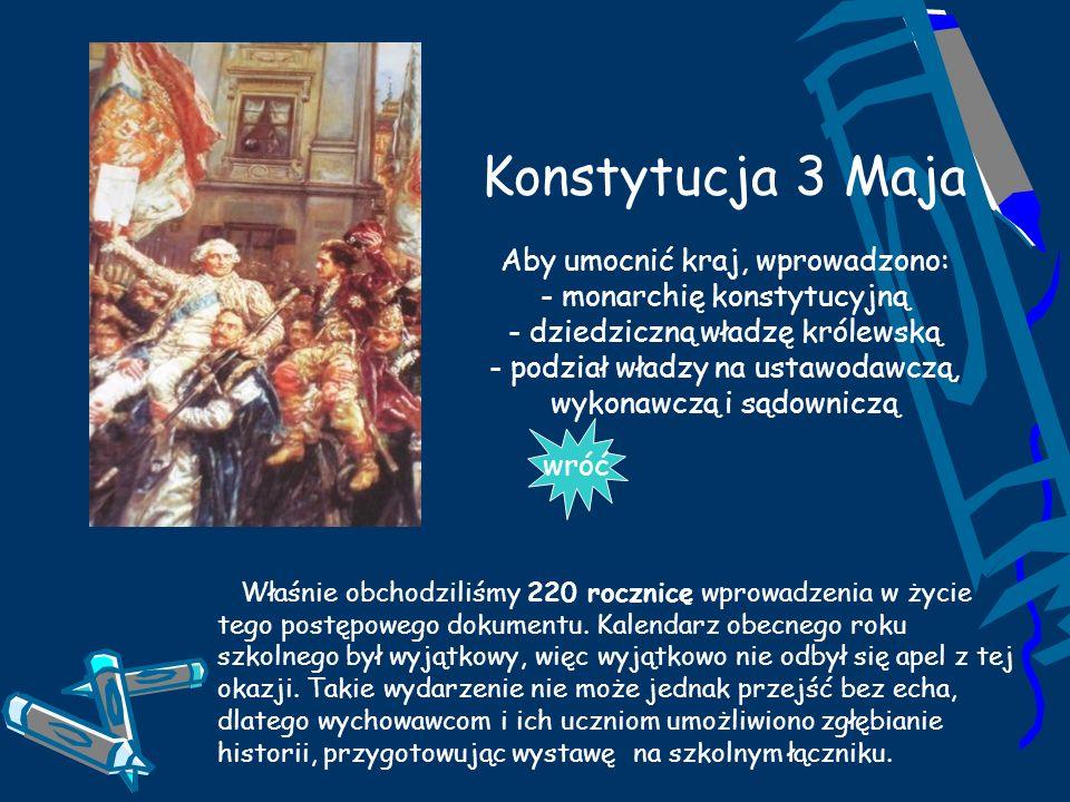 Konstytucja 3 Maja Aby umocnić kraj, wprowadzono: - monarchię konstytucyjną - dziedziczną władzę królewską - podział władzy na ustawodawczą, wykonawcz