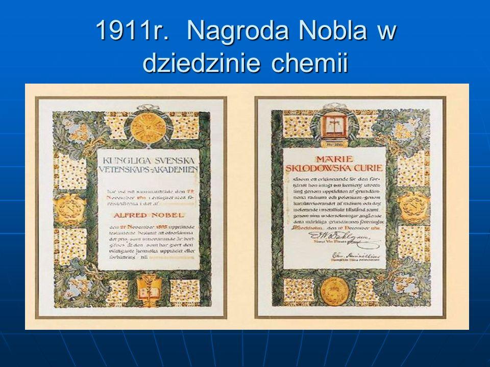 1911r. Nagroda Nobla w dziedzinie chemii