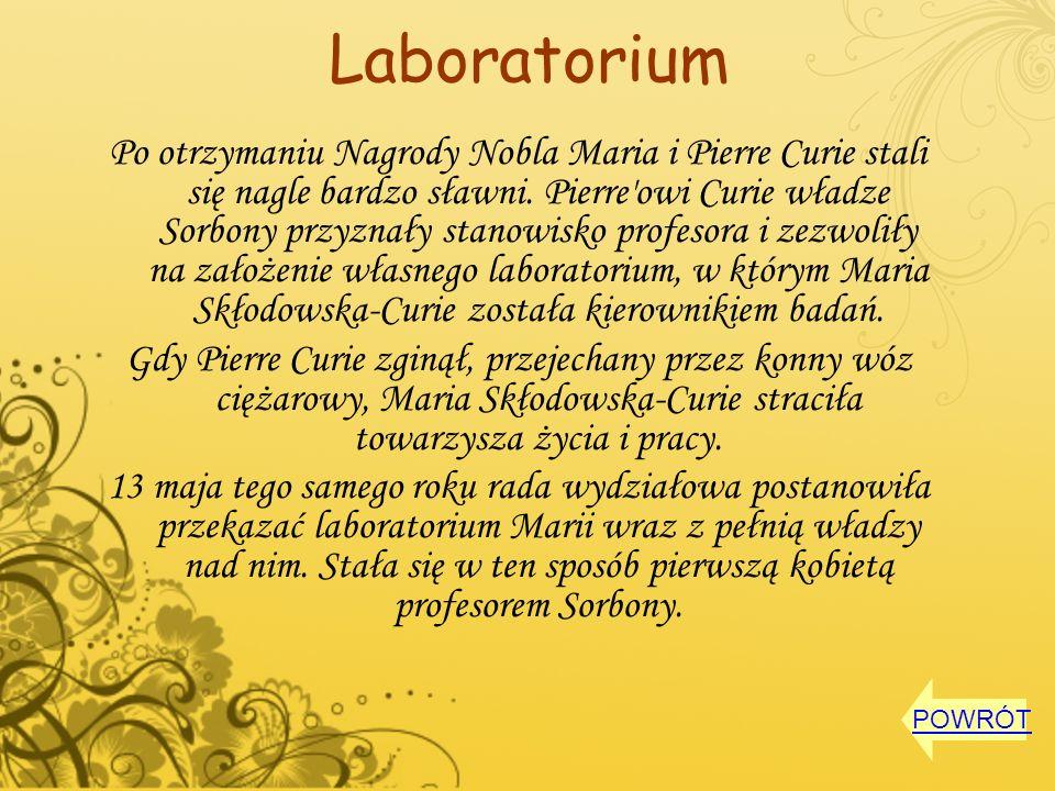 Laboratorium Po otrzymaniu Nagrody Nobla Maria i Pierre Curie stali się nagle bardzo sławni. Pierre'owi Curie władze Sorbony przyznały stanowisko prof