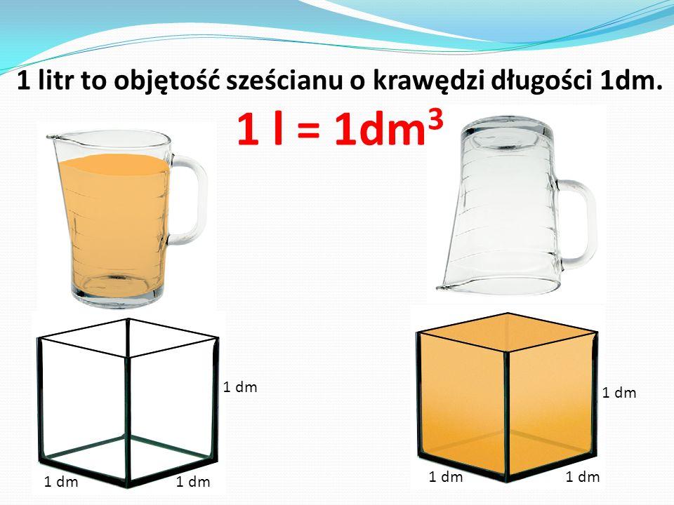 1 litr to objętość sześcianu o krawędzi długości 1dm. 1 l = 1dm 3 1 dm