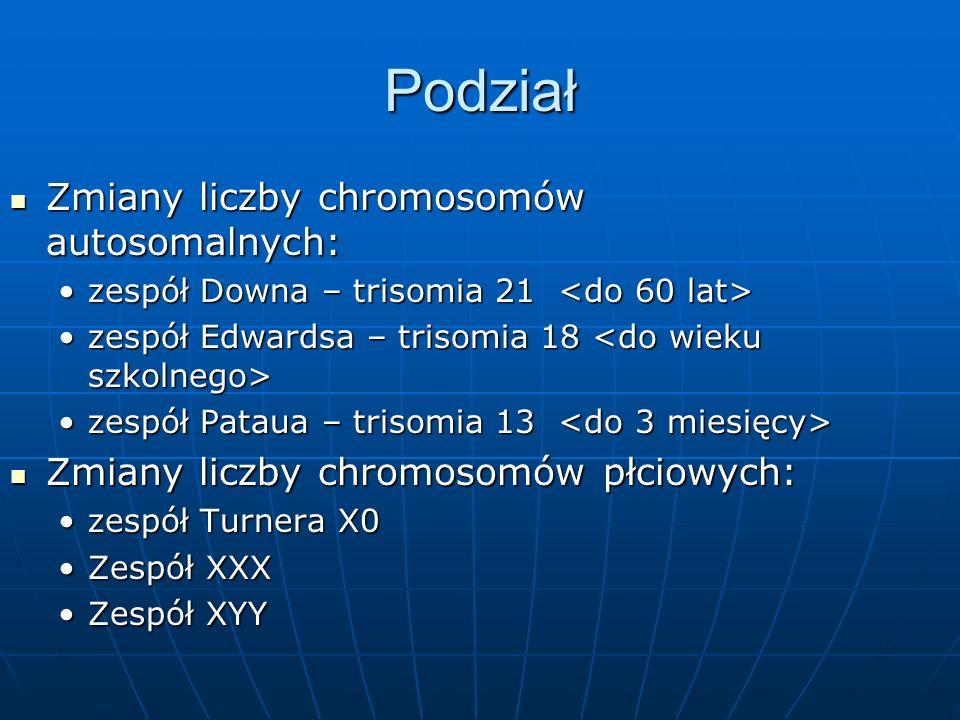 Podział Zmiany liczby chromosomów autosomalnych: Zmiany liczby chromosomów autosomalnych: zespół Downa – trisomia 21 zespół Downa – trisomia 21 zespół