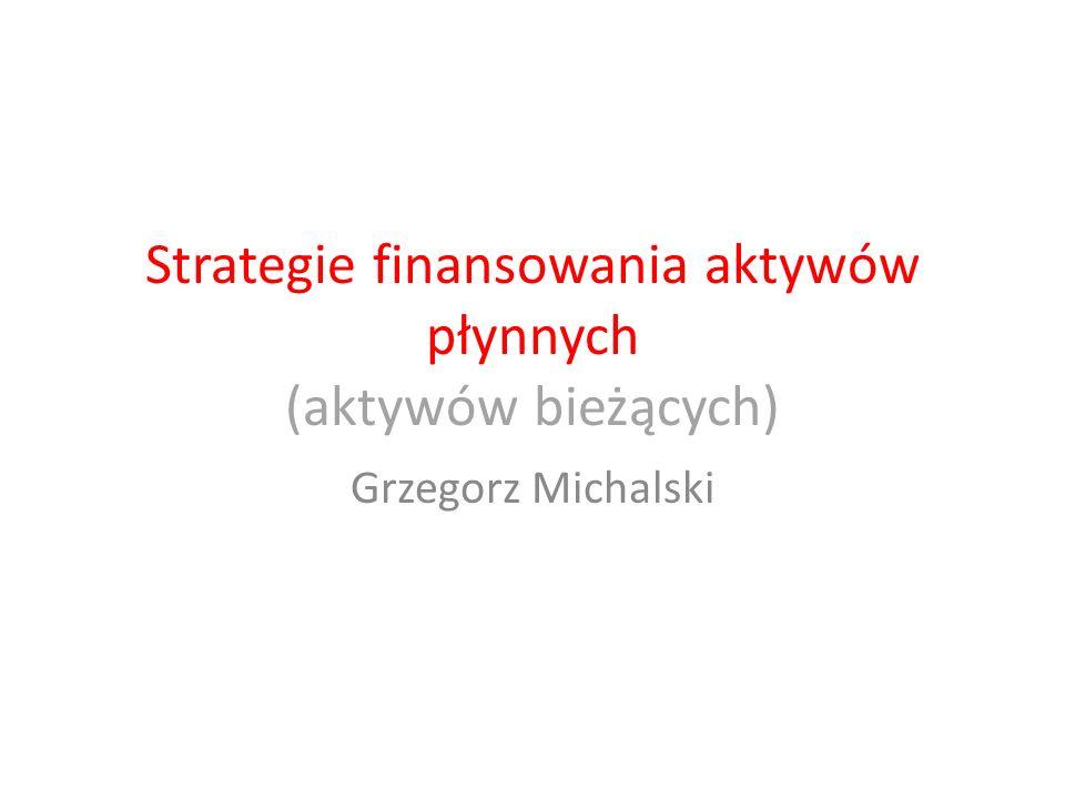 Agresywna (aggressive): minimalizacji kosztów związanych z finansowaniem aktywów bieżących Konserwatywna (conservative): minimalizacji ryzyka finansowania aktywów bieżących Strategie finansowania aktywów płynnych (aktywów bieżących)