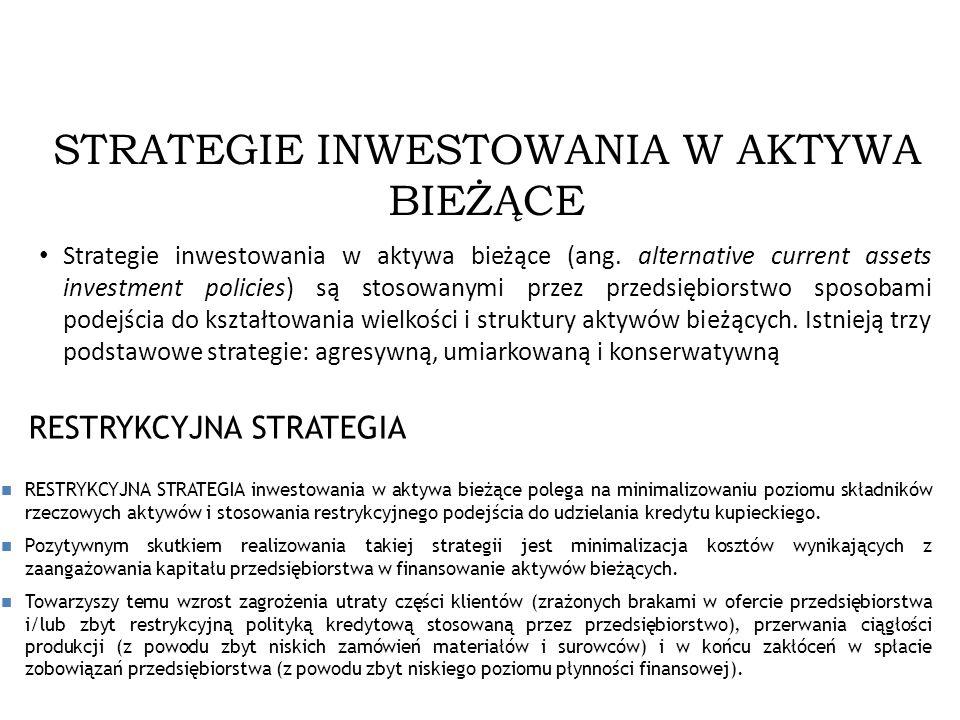 2013-12-2814 STRATEGIE INWESTOWANIA W AKTYWA BIEŻĄCE Strategie inwestowania w aktywa bieżące (ang. alternative current assets investment policies) są