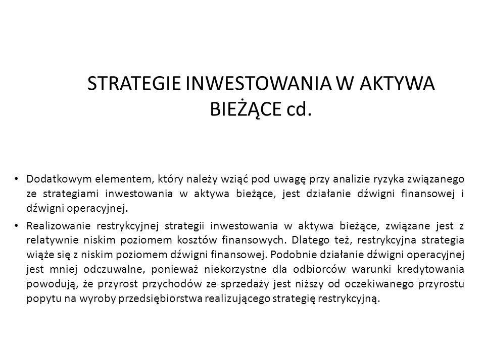 2013-12-2816 STRATEGIE INWESTOWANIA W AKTYWA BIEŻĄCE cd. Dodatkowym elementem, który należy wziąć pod uwagę przy analizie ryzyka związanego ze strateg